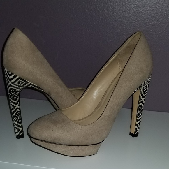 Zara Shoes - Zara Beige Fabric High Platform Court Shoes Size 7